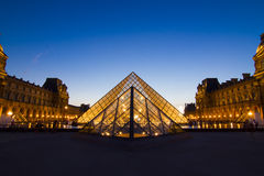 Pyramid of Louvre Museum in Paris Royalty Free Stock Photo