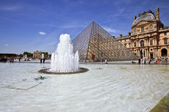 Pyramid of Louvre Museum in Paris France Royalty Free Stock Photo