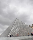Pyramid of Louvre Museum in Paris France Stock Photography