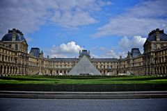 Pyramid and louvre museum. In paris, france royalty free stock images