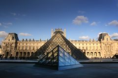 Pyramid of Louvre Museum in Paris France Royalty Free Stock Photos