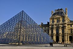 Paris, Pyramid of Louvre Museum France Stock Images