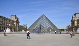 Pyramid Of Louvre Museum In Paris France Stock Images