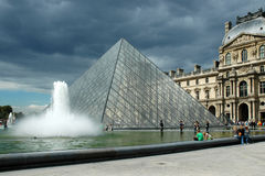The Pyramid of the Louvre Stock Images
