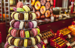Pyramid of Macarons. Colorful pyramid of tasty French macarons Stock Images
