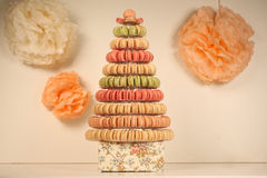 Pyramid of macaroons Stock Image