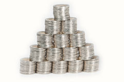Pyramid Made Aut Of 2 Euro Coins Stock Images
