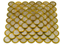 Pyramid made of coins Stock Photo