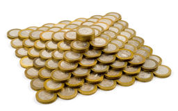 Pyramid made of coins Royalty Free Stock Photo