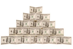 Pyramid made of dollar Royalty Free Stock Image