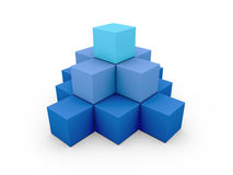 A pyramid made of similar blue boxes Royalty Free Stock Photos