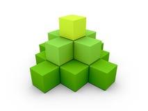 A pyramid made of similar green boxes Stock Photography