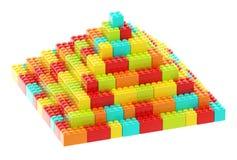 Pyramid made of toy construction bricks Stock Image