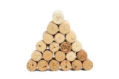 Pyramid made of used Wine corks Stock Image