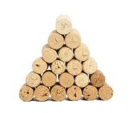 Pyramid made of used Wine corks Stock Photos