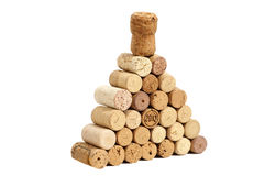 Pyramid made of used Wine corks Stock Images