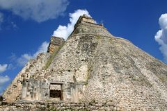 Pyramid of the magician. Mayan Ppramid of the magician, Uxmal - Mexico Royalty Free Stock Photo