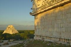 Pyramid of the Magician, Mayan ruin in the Yucatan Peninsula, Mexico at sunset Stock Photo
