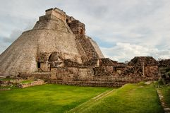 Pyramid of the Magician ruins in Uxmal royalty free stock photo