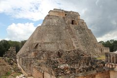 Pyramid of the Magician at Uxmal, Mexico stock images