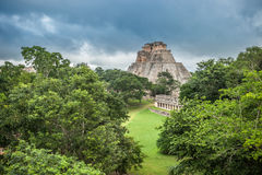 Pyramid of the Magician in Uxmal, Yucatan, Mexico Stock Photo