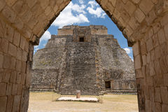 The pyramid of the Magician, Uxmal, Yucatan, Mexico Stock Images