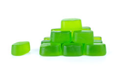 Pyramid maked from green fruit jellies Royalty Free Stock Image
