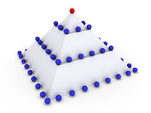 Pyramid with many spheres. Leadership concept with 3d spheres on pyramid Stock Images