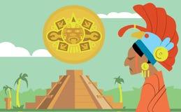 Pyramid Maya, chief of tribe Maya. Vector Mayan. Stock Photography