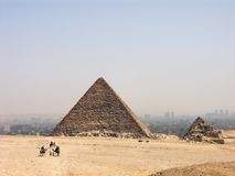 The Pyramid of Menkaure. With the Cairo skyline in the background, Egypt Stock Image