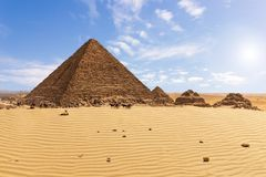 The Pyramid of Menkaure and the pyramid companions, Giza, Egypt. Africa ancient arabic archaeology archeology architecture background beautiful building cairo royalty free stock photos