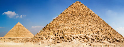 Pyramid of Menkaure and pyramid of Khafre Royalty Free Stock Image