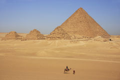 Pyramid of Menkaure and Pyramids of Queens, Cairo stock image