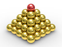Pyramid from metal spheres on a white background Stock Image