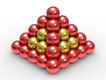Pyramid from metal spheres on a white background Stock Photo