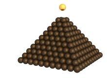 Pyramid of  metallic spheres on white Royalty Free Stock Photo