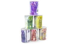 A pyramid of money cans. With different euros Stock Photography