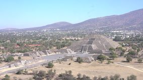 Pyramid of the Moon. Avenue of the Dead and Pyramid of the Moon in Teotihuacan, Mexico stock footage