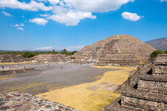 The Pyramid of the Moon and other ancient ruins  at Teotihuacan in Mexico Stock Images