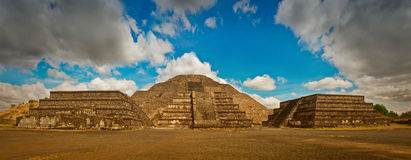 Pyramid of the Moon and the road of death in Teotihuacan Royalty Free Stock Images