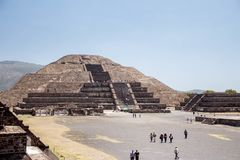 Pyramid of the Moon in Teotihuacan, Mexico. View of the Ancient Pyramid of the Moon at Teotihuacan in Mexico. The archaeological park of Teotihuacan - one of the Stock Photography
