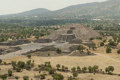 Pyramid of the Moon in Teotihuacan Mexico. A view of the Pyramid of the Moon, at the end of the Avenue of the Dead, in Teotihuacan, a pre-Columbian Mesoamerican Stock Photography