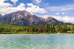 Pyramid Mountain Patricia Lake Jasper National Park Alberta, Canada. Patricia Lake and Pyramid Mountain in Jasper National Park Alberta, Canada royalty free stock image