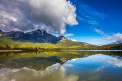 Pyramid Mountain reflected in the Pyramid Lake Stock Image