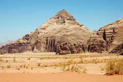 Pyramid mountain in Wadi Rum, Jordan Stock Photos
