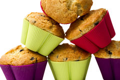 Pyramid of muffins. Baked muffins forming a pyramid royalty free stock photo