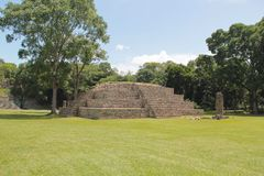 Pyramid named Structure 4 at the ancient Mayan archaelogical site of Copan, in Honduras Royalty Free Stock Photos