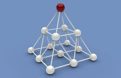 Pyramid network concept. 3D rendered illustration of a pyramid network concept.  White nodes and links are arranged in the form of a pyramid and a red node is Stock Image