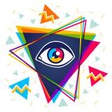 Pyramid och öga stock illustrationer