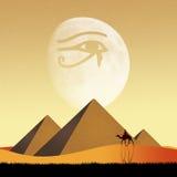 Pyramid- och Horus öga stock illustrationer